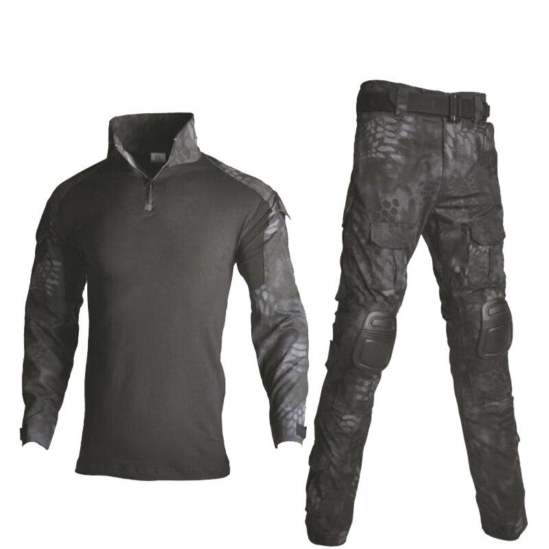 Ghillie costume militaire uniforme chemise + pantalon en plein air Airsoft Paintball tactique Camouflage chasse vêtements avec genouillères coudières