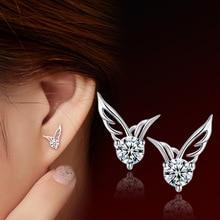 Real 925 Sterling Silver  Cubic Zirconia Angel Wings Earrings Stud for Women Girls sterling-silver-jewelry