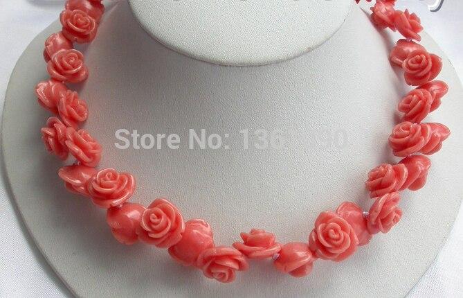 LIVRAISON GRATUITE>>> 00573 superbe grand 16mm rose corail fleur collier
