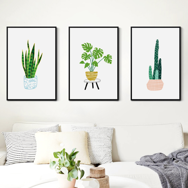 Watercolor Green Plants Monstera Nature Posters And Prints: Simple Green Plant Potted Monstera Deliciosa Liebm Canvas