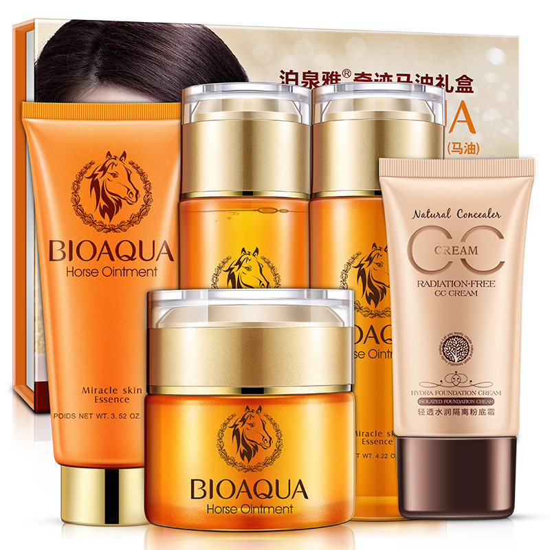 BIOAQUA Miracle Horse Oil 5Pieces of Set Skin Care Nourishing &Moisturizing Anti-aging Cleanser, Toner, Lotion. Cream, BB Cream reishi spore ganoderma lucidum lingzhi anti cancer and anti aging body relaxation free shipping