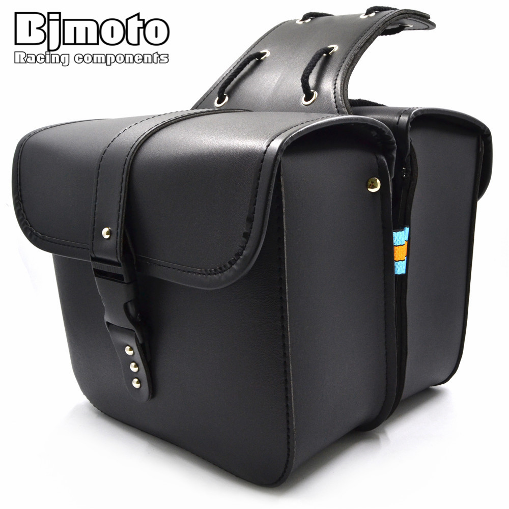Bjmoto For Harley Motorcycle Saddle bags Cruiser moto bike Side Storage Tool Pouches side Saddlebag Luggage Bag