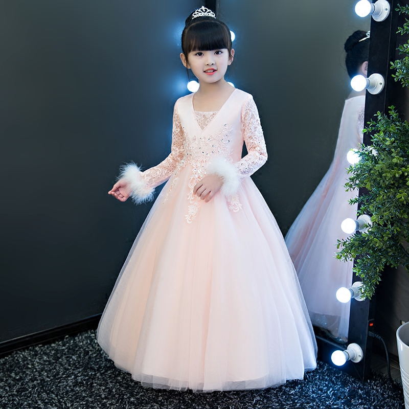 Children Girls Elegant2018 Girls Autumn Winter New Princess Lace Dress Clothes Kids Teens Pink Birthday Evening Party Long Dress autumn long lace dress cut out pink blue fit and flare sleeve bodycon tunic evening party midi dress european style