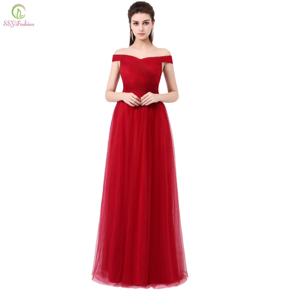 Clearance Wine Red Long Evening Dress The Bride Banquet Elegant Boat Neck Soft Tulle Prom Dress  Formal Dresses