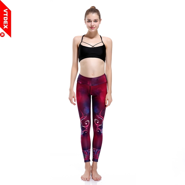 256609d16794bf VTDEX Fitness Leggings 2017 Real New Women Yoga Pants Floral Print Girl  Running Shiny Workout GYM Tights Ropa Deportiva Mujer