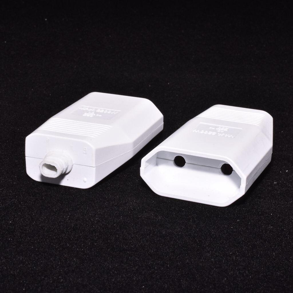 (10pcs) Free Shipping European 2 Pin DIY Rewirable Socket EU 2 Pin Female Socket Black/White#