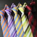 (1 peças/lote) 100% listrado de seda laços para homens gravata fina azul vermelho verde roxo listra listrado diagonal gravatas