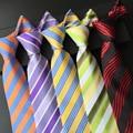(1 unids/lote) 100% de seda a rayas corbatas para hombres rojo azul delgado lazo púrpura verde raya diagonal rayas corbatas