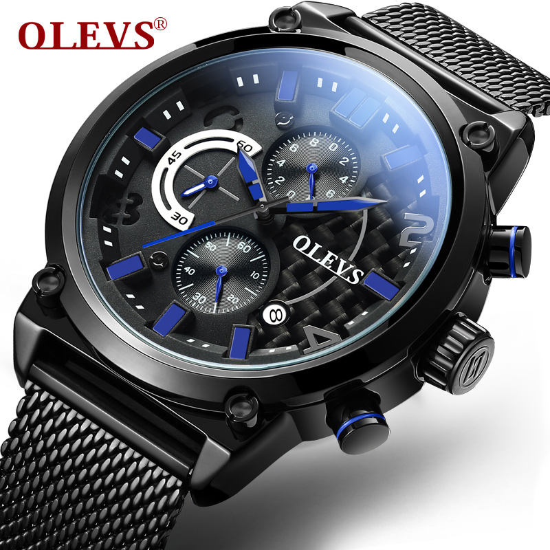 Genuine Watch OLEVS Stainless Steel Men Water Resistant Watches Quartz Male clock Sport Military Wristwatches Chronograph New weide high quality stainless steel black men resistant sport alarm quartz men s military watch male clock relojes wh3403