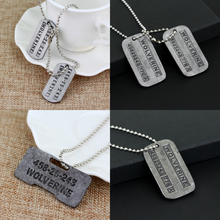 X-Men Wolverines Logan Brushed Steel Double Dog Tag Pendant Necklace купить дешево онлайн