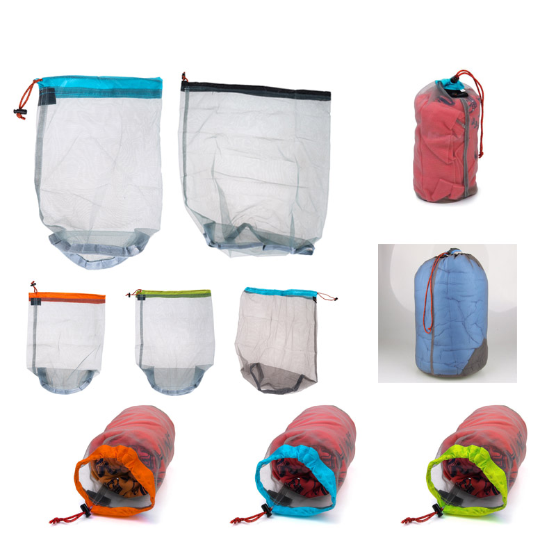 1 adet Çamaşır Açık Çanta Ultralight Örgü Sayfalar Çuval Kamp Spor İpli Saklama Çantası Yürüyüş Araçları Tırmanma İpli bolsa