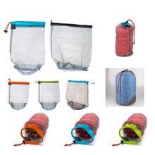 1 pc saco de lavanderia ao ar livre ultraleve malha material saco de acampamento esportes drawstring armazenamento saco caminhadas ferramentas escalada cordão bolsa