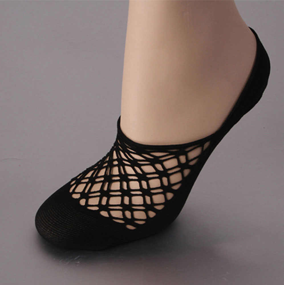 1 paar Sexy Zwart Kruis Kant Boot Sokken Zomer Vrouwen Meisjes Antislip Onzichtbare Loafer Bootschoenen Low Cut Floor Sokken slippers