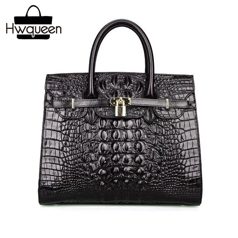 Fantaisie Crocodile motif dame Alligator sac à main en cuir de vache véritable femmes unique croix sac à bandoulière serrure fermeture femme sac à main