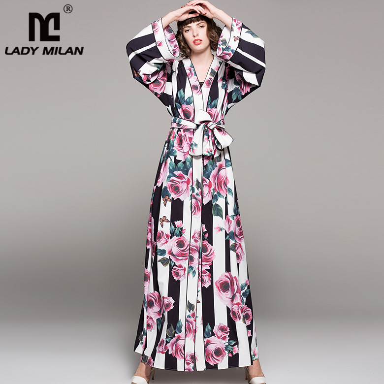 Lady Milan 2018 Womens Sexy V Neck Long Sleeves Stripred Floral Printed Loose Design Sash Belt Casual Pajama Maxi Fashion Dress