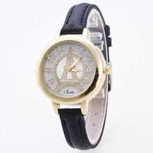 Casual Effiel Tower Small Dial Thin PU Leather Strap Quartz Wristwatches Bracelet Wrist Watch for Women Girls Female OP001