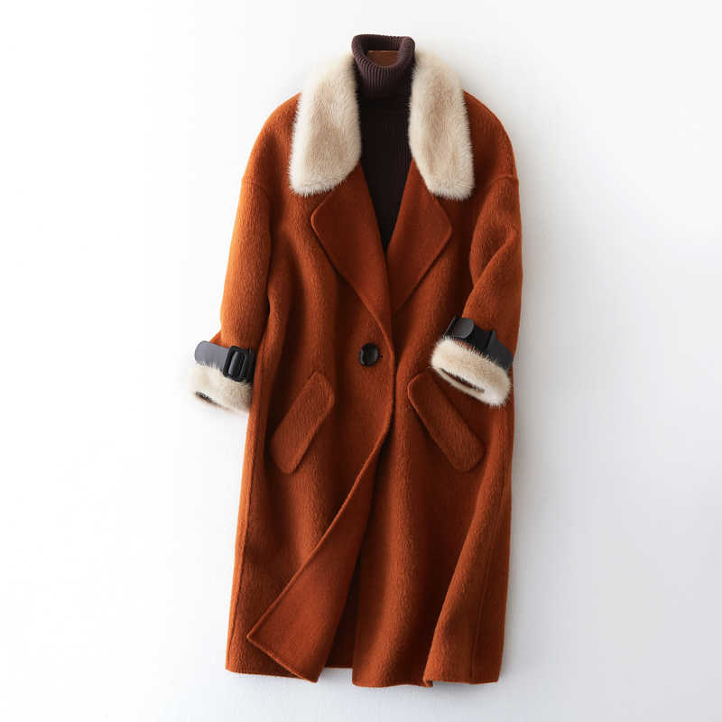 Норковая шуба с меховым воротником из натурального меха 20% Альпака 80% шерстяная куртка уличная осенне-зимняя куртка женская одежда 2019 корейские женские топы 3371