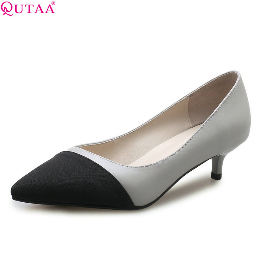 QUTAA 2018 Women Pumps Cow Leather + Flock Pointed Toe Thin Heel Fashion Casual Women Shoes Platform Ladies Pumps Size 34-41 xiaying smile woman sandals shoes women pumps spring summer pointed toe sexy fashion casual thin heel cover heel flock shoes