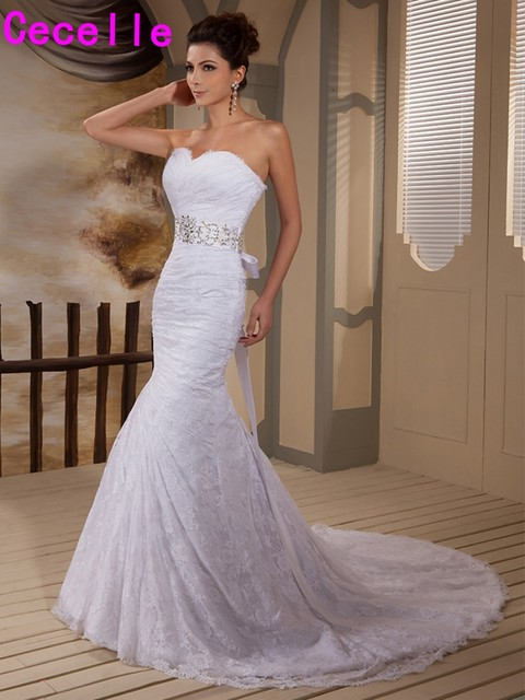 2019 Real Image Mermaid Lace Sweetheart Wedding Dresses Bridal Gowns Beaded Ruches Sashes Corset Robe De Mariee Custom Made