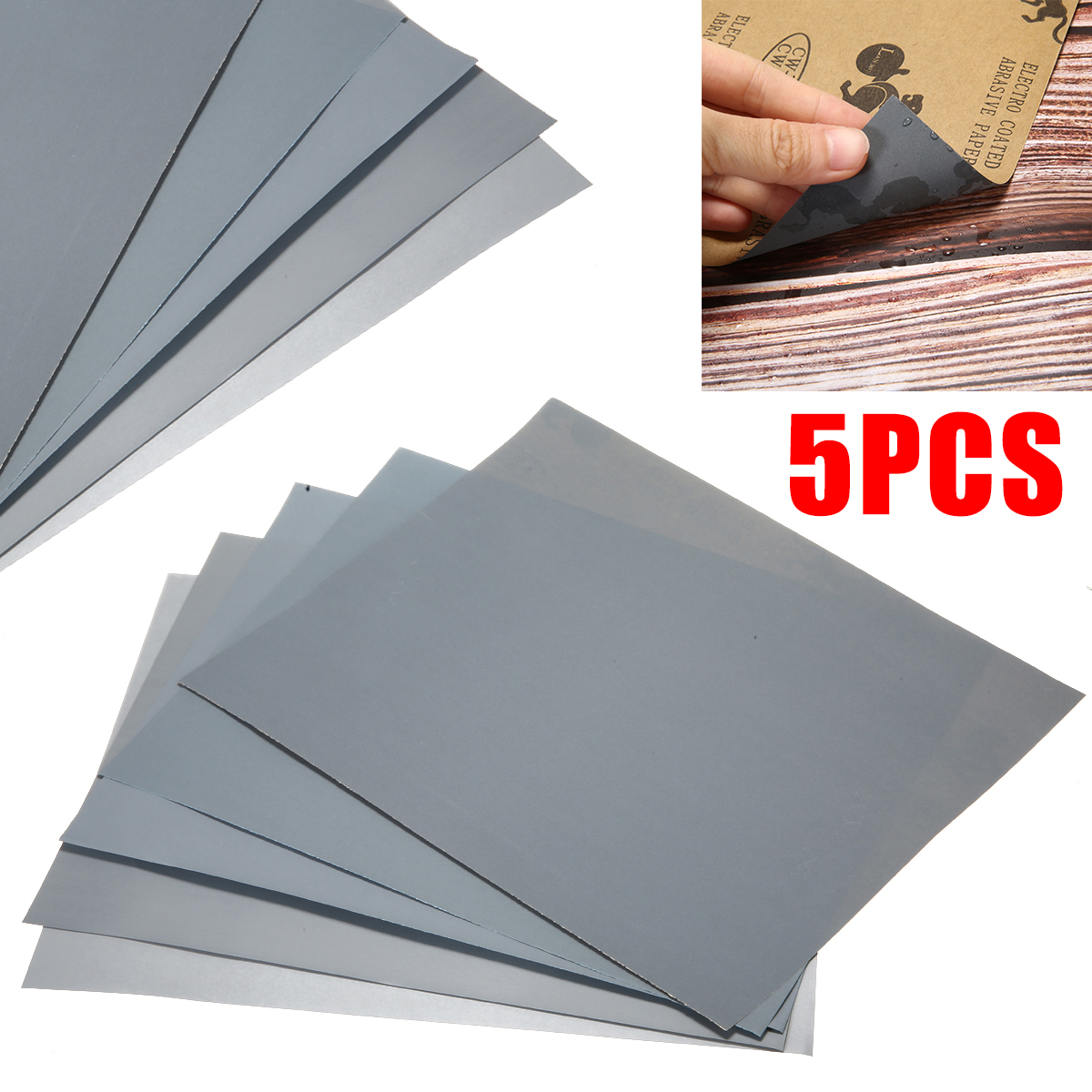 5Pcs Waterproof Sand Papers Wet And Dry Sand Paper Mixed Assorted Grit 2000 2500 3000 5000 7000 For Auto Repairing Painting Tool