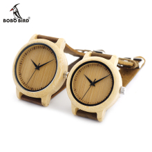 Watches - Couple Watches - BOBO BIRD Round Wooden Wristwatch Japan Movement Quartz Watch For Couple Men 43mm Dial Women 38mm Dial