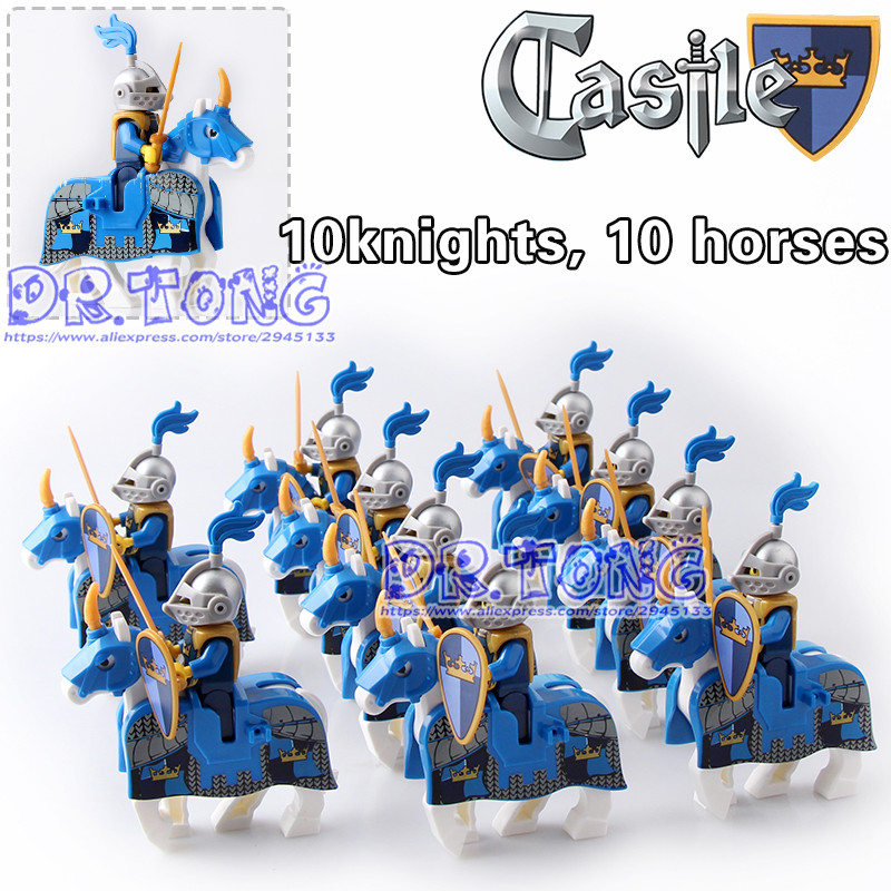 DR.TONG 20pcs/lot Knights War Bule Horse Knights King with Heavy Armor Medieval Rome Knights Horse Building Blocks Toys 1 leader 16pcs lot medieval knights xh645 crusader rome commander super hero building blocks toys children gifts x0164