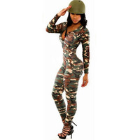 Sexy Jumpsuit Women Rompers Renda The Army Soldier Catsuit Long Sleeve Bodycon Playsuit Overall Halloween Costumes