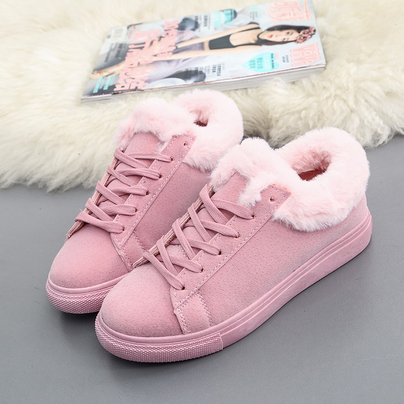 Women Flats For Winter Plush Warm Shoes Casual Flat Heels Lace Up Ladies Shoes Size 35-40 Black Gay Pink Fashion Fur Shoes NX5 (13)