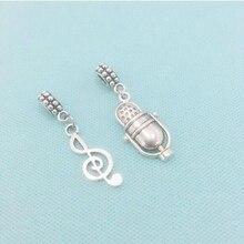 Nota musical y amuletos de micrófono Vintage Fit pulsera de cuentas monedero decoración colgantes plateados que hacen encontrar joyería regalo de vacaciones