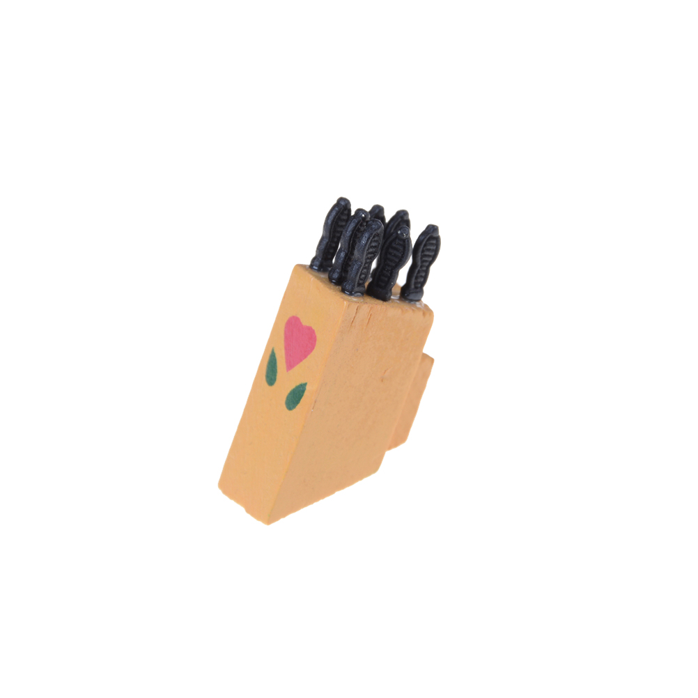 Kids Children Dollhouse Miniature Knife Tool Kit On The Wood Knife Handle Pasted Furniture Toys High Quality