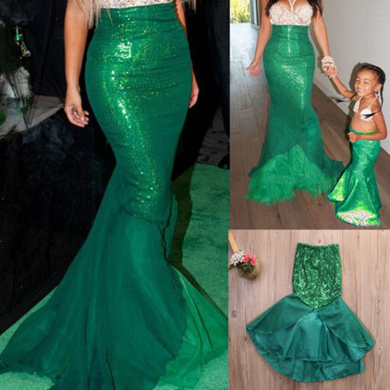 Halloween Party Costume For Kids Baby Girl Women The little Mermaid Ariel Princess Cosplay Costume Mermaid Tail Dress