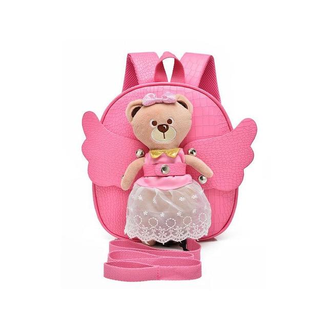 Безопасность, Анти-потерянные Дети Рюкзак мультфильм медведь Детский Сад Школьные сумки для девочек мода милый ангел pu кожа сумки на ремне