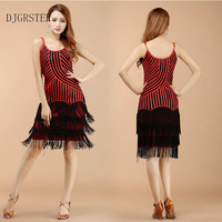 DJGRSTER New Arrival Latin Dance Dress Fringes Skirt Women Sexy Latin Tango Ballroom Salsa Dance Dress