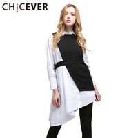CHICEVER 2017 Spring Vintage Two Piece Set Loose Long Sleeve With Belt Ladies Dresses Women New