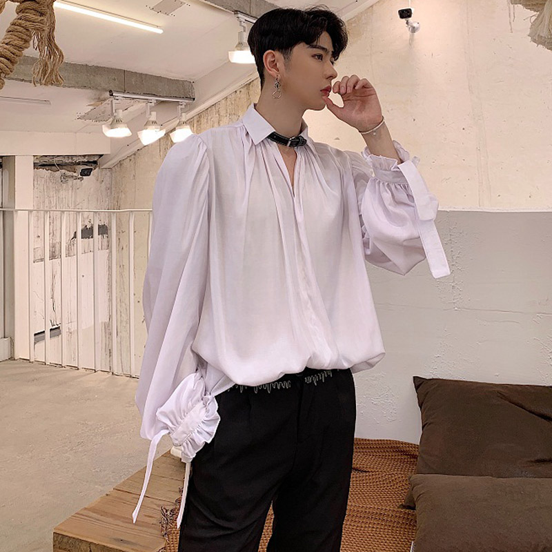 Men Black White Casual Long Sleeve Shirts Leather Necklace Fashion Dress Shirts Male Punk Gothic Stage Clothes