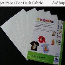 (A4 Paper*60pcs) Dark Inkjet Heat Transfer Cotton Paper For T shirts Thermal Transfer Papel For Fabric Papier Transfert HTW-300