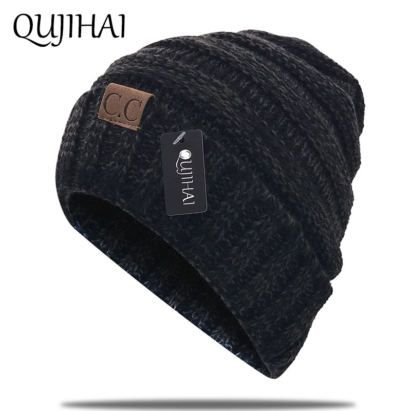 QUJIAHI Female Winter Hat Women Brand CC Girl  S Hat Knitted Beanie Cap Hat  Thick Women S Skullies Beanies Boo a8985da17f1