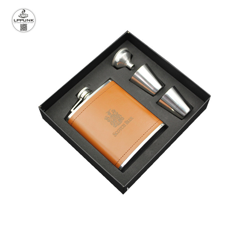 LPPUNK New arrival bpa free 7oz pu leather whisky Imprint flagon cccp Stainless steel alcohol hip flask SET with BLACK gift box