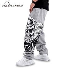 Unisplendor осенние мужские повседневные длинные штаны в стиле хип-хоп черного/серого цвета с принтом черепа, Модные свободные длинные брюки большого размера YN375