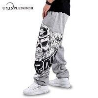 unisplendor 2019 Autumn Hip Hop Style Men Casual Full Pants Black/Gray Print Skull Fashion Loose Big Size Long Trousers YN375