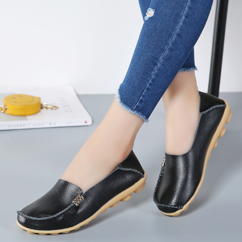 Genuine Leather Women Casual Shoes Flats Shallow Footwear Ladies Slip On Loafers Female Moccasins Women Driving Shoes STG432 de la chance women fashion platform shoes genuine leather slip on casual shoes loafers flatform wedge shoes skate ladies shoes