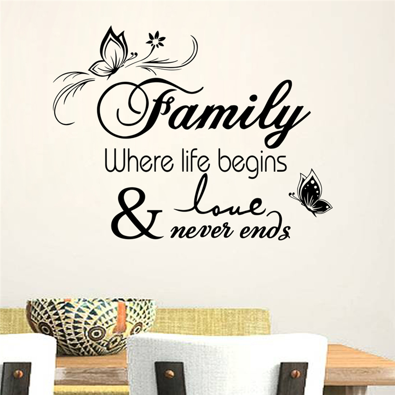 Family Where Life Begins And Love Never Ends Quotes Wall