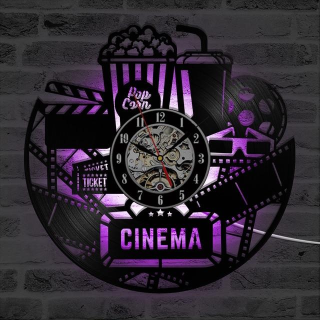 Cinema Popcorn Design CD Vinyl Record LED Wall Clock Antique Style ...