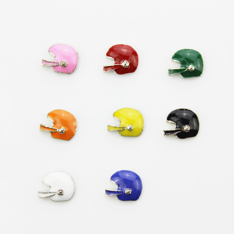 Hot selling 80pcs/lot mix 8 color football helmet floating charms living glass memory floating lockets