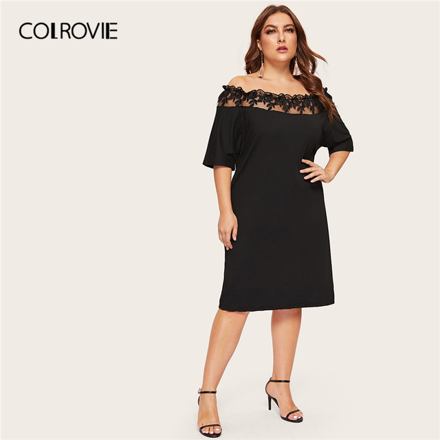 COLROVIE Plus Size Black Off The Shoulder Contrast Mesh Elegant Dress Women 2019 Summer Short Sleeve Knee Length Party Dresses
