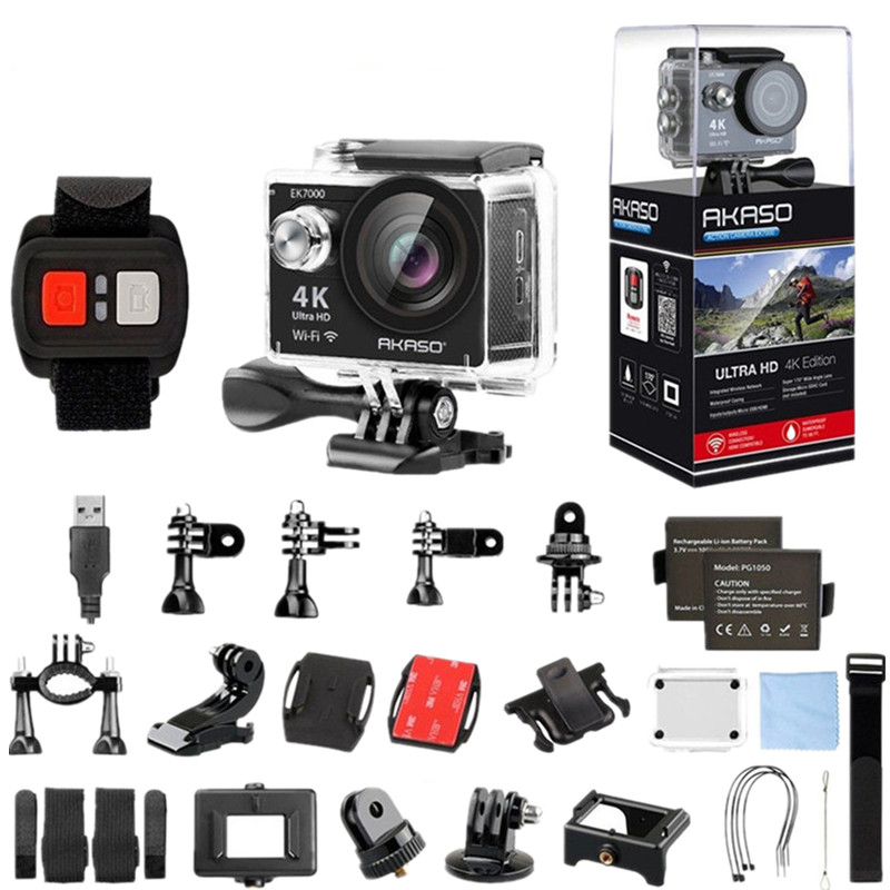 AKASO EK7000 4k WIFI Outdoor Sport Action Camera Ultra HD Waterproof DV Camcorder 12MP Extreme Underwater 1080p 60fps Video Cam amk7000s camera 1080p hd action digital camera 2 0 lcd 4k wifi sport dv video photo camera 20mp waterproof 40m mini camcorder