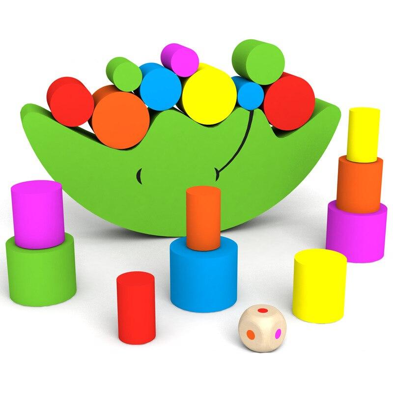 Pädagogisches Holz Mond Balance Spiel Blöcke Geschenk Baby Spielzeug bunte kinder diy spielzeug bausteine WJ471