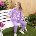 KAMIWA 2016 Outono Inverno Cotton Floral Impressão em Duas Cores Com Capuz Conjunto de Roupas Esportes das Meninas das Crianças T-shirt Calças Casuais Completo