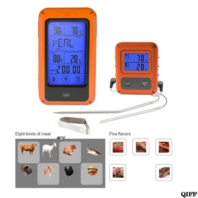 Sonda Termômetro de Forno Duplo Set Controle Remoto Sem Fio Digital Para Cozinhar A Carne Comida JUN05