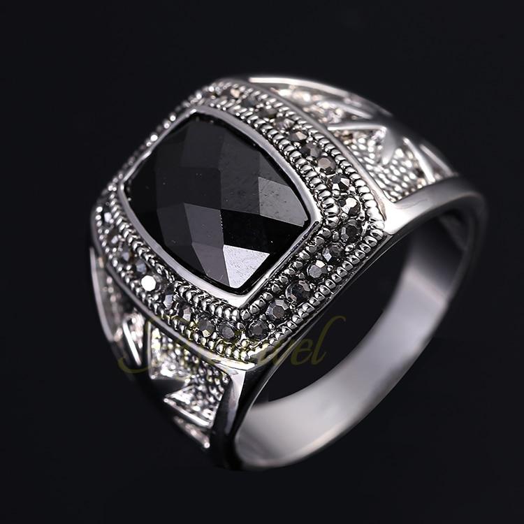 Ajojewel boyutu 8-11 yüksek kalite zirkon erkek yüzük siyah - Kostüm mücevherat - Fotoğraf 3
